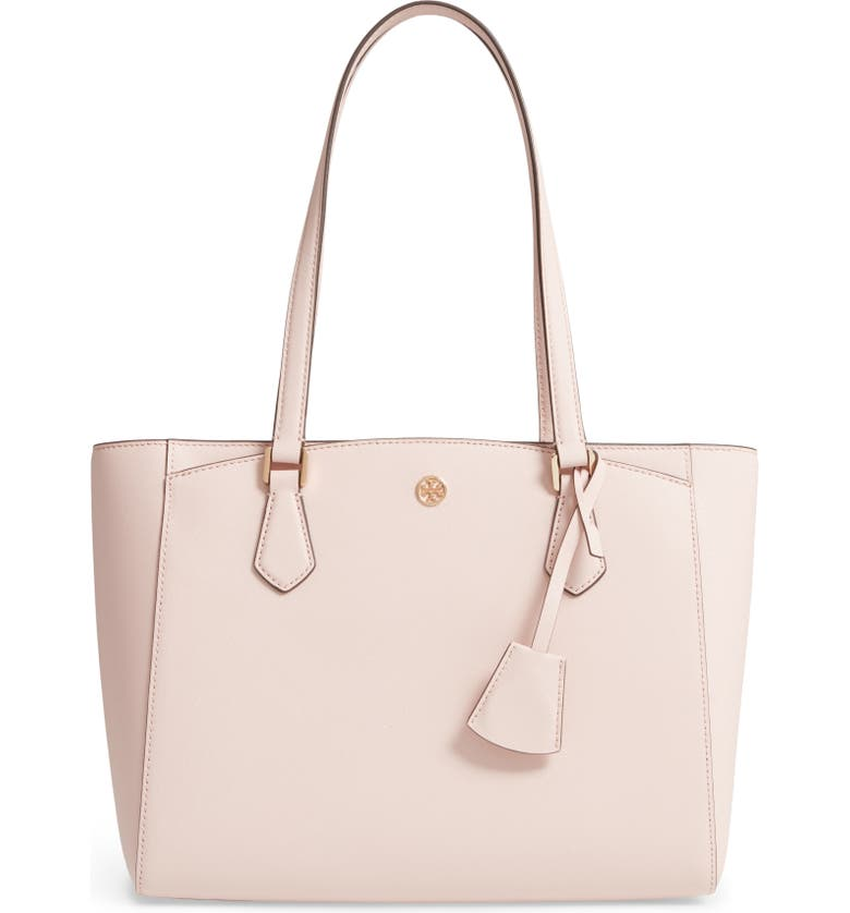 TORY BURCH Small Robinson Saffiano Leather Tote, Main, color, SHELL PINK