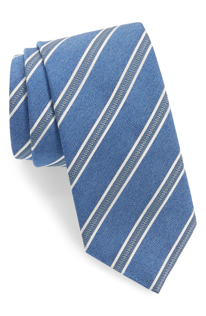 DAVID DONAHUE Stripe Silk Tie, Main, color, BLUE