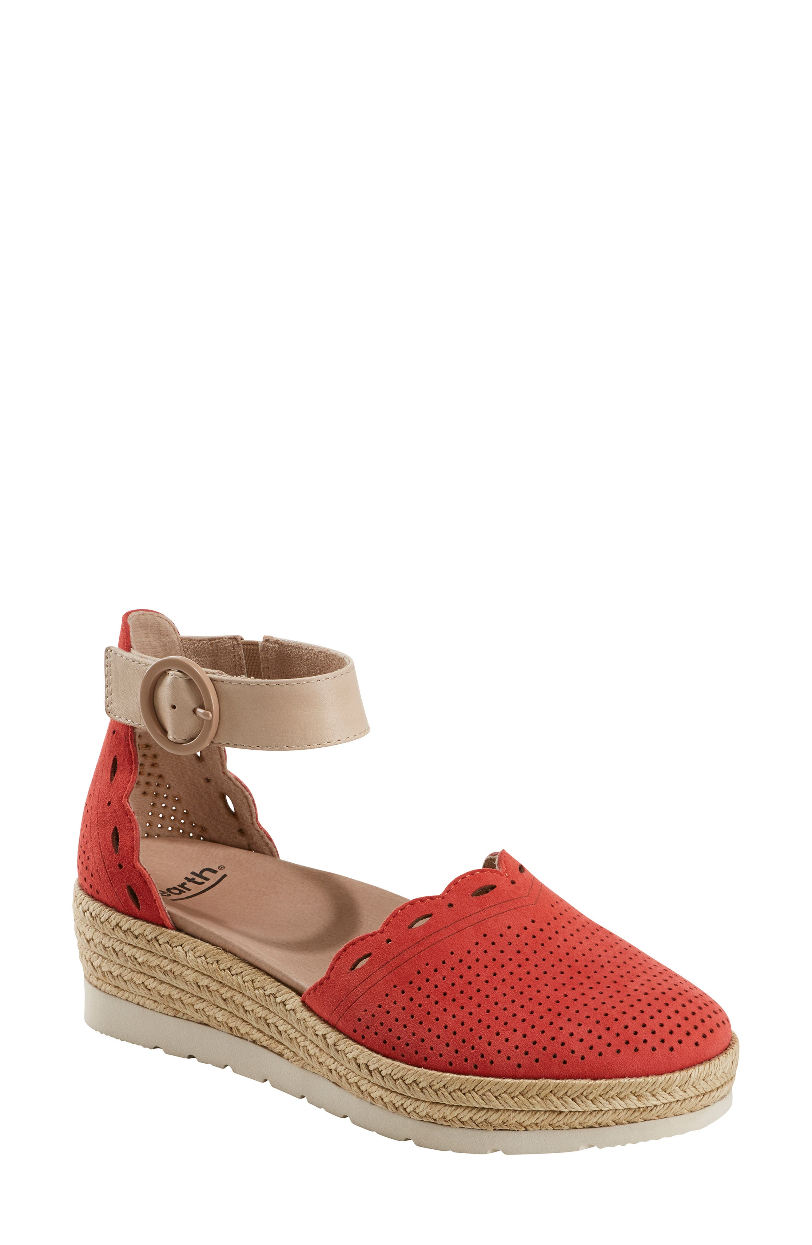 Earth Yarrow Espadrille Wedge- Coral