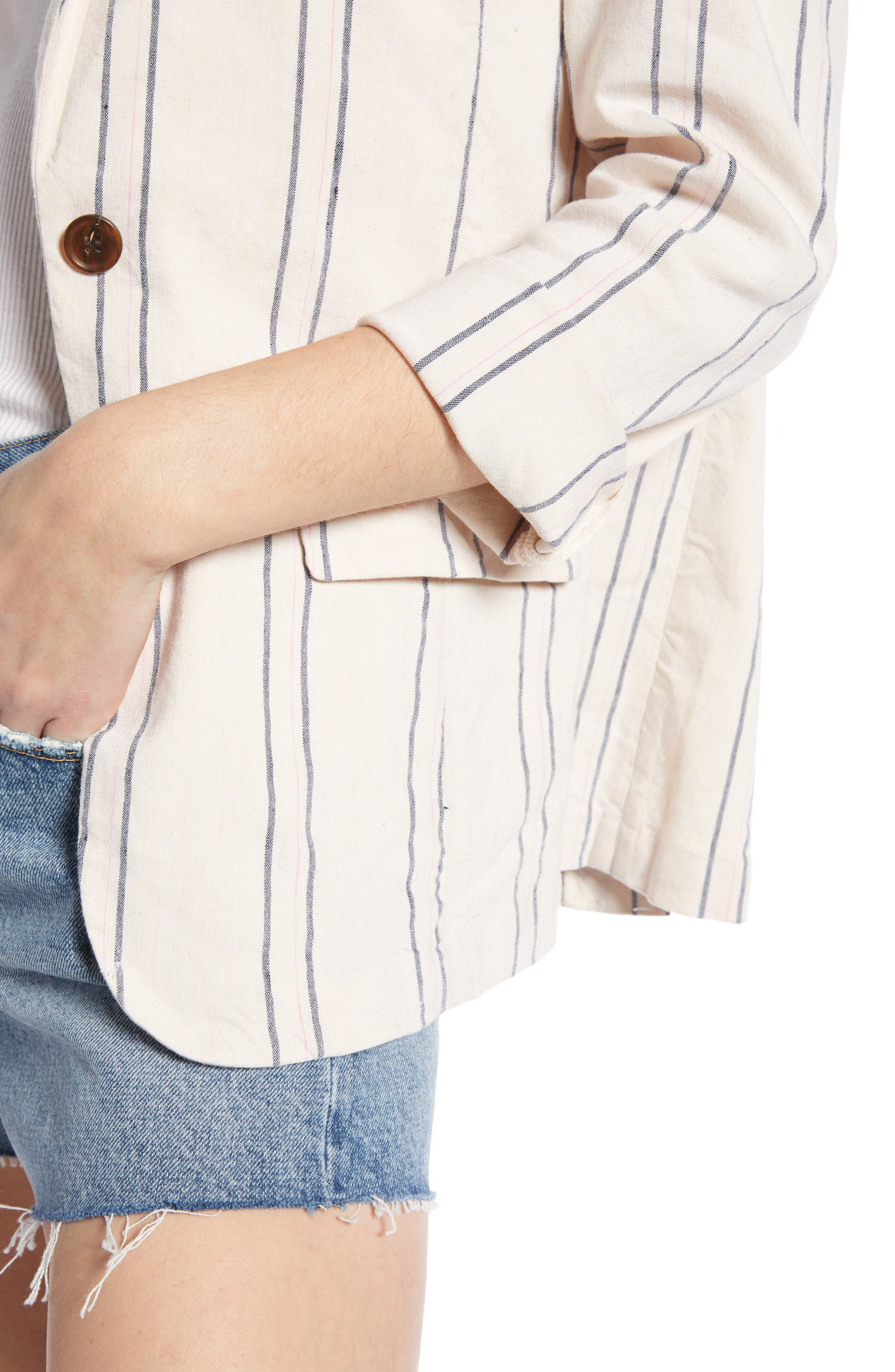 ,                             Stripe Relaxed Blazer,                             Alternate thumbnail 7, color,                             BEIGE BURNT EMMA STRIPE