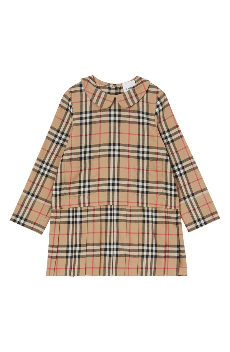 BURBERRY Melanie Check Drop Waist Long Sleeve Dress, Main, color, ARCHIVE BEIGE CHECK