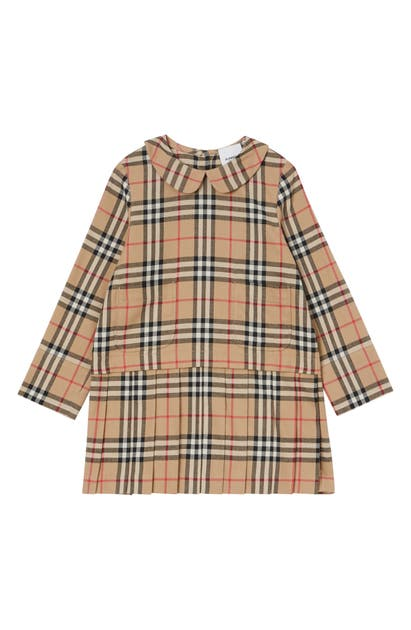 Burberry Girls' Denise Vintage Check Wool Dress - Little Kid, Big Kid In Beige