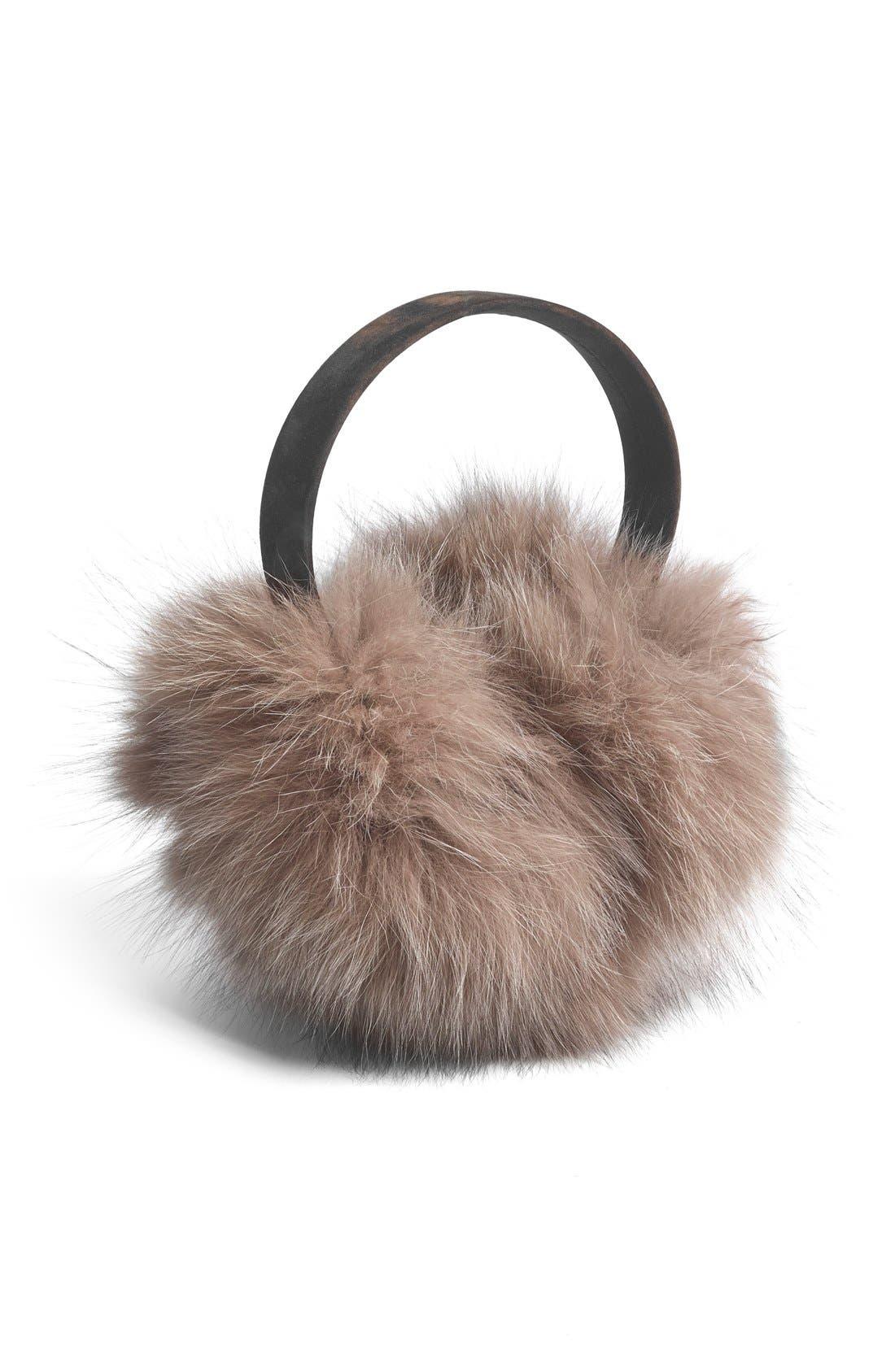 ,                             Genuine Fox Fur Earmuffs,                             Main thumbnail 12, color,                             201