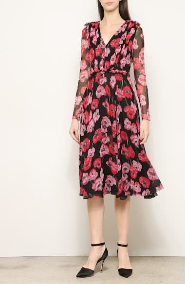 Poppy Print Silk Chiffon Long Sleeve Dress, video thumbnail