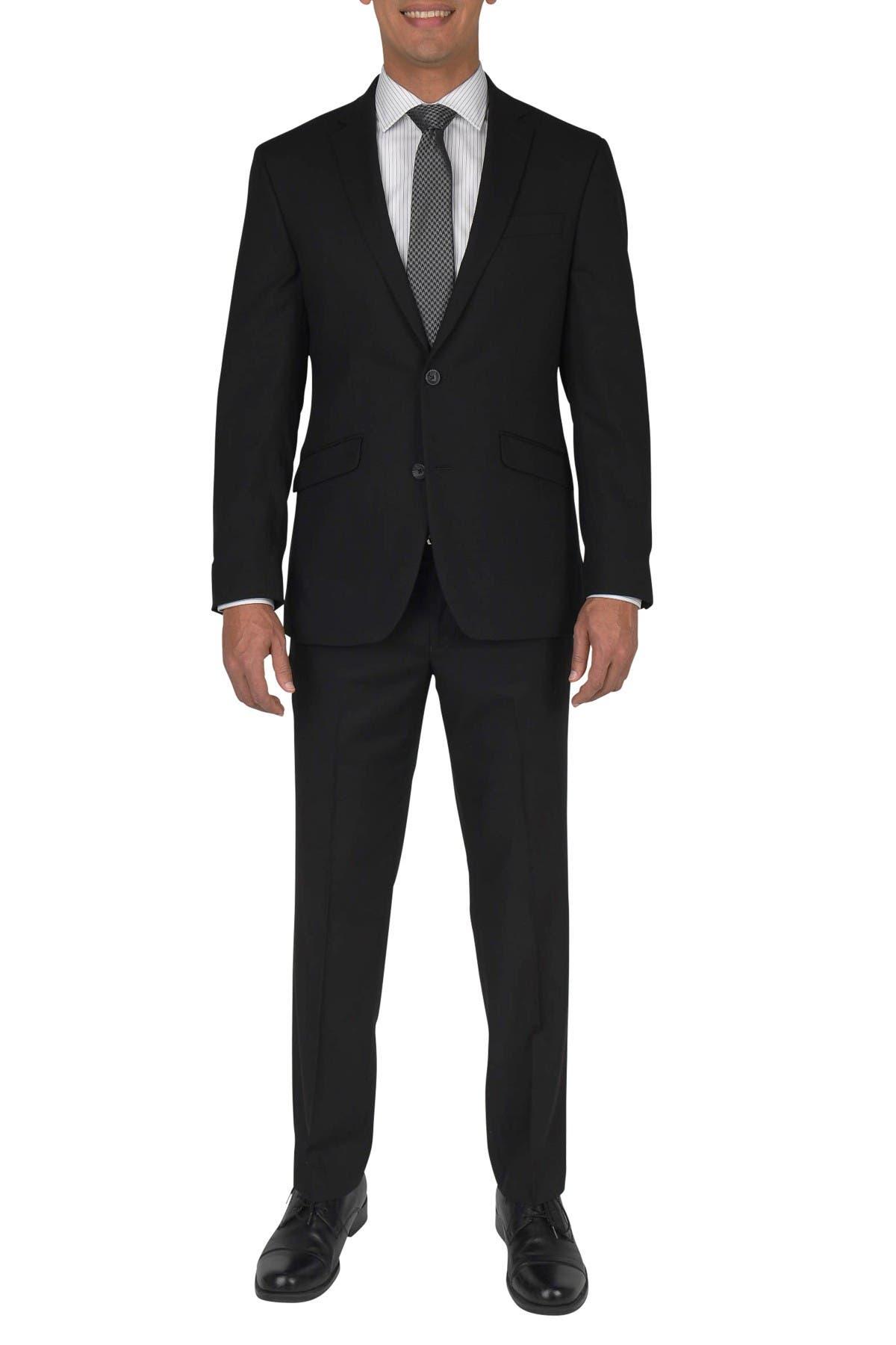 Image of Kenneth Cole Reaction Black Solid Two Button Notch Lapel Techni-Cole Slim Fit Suit