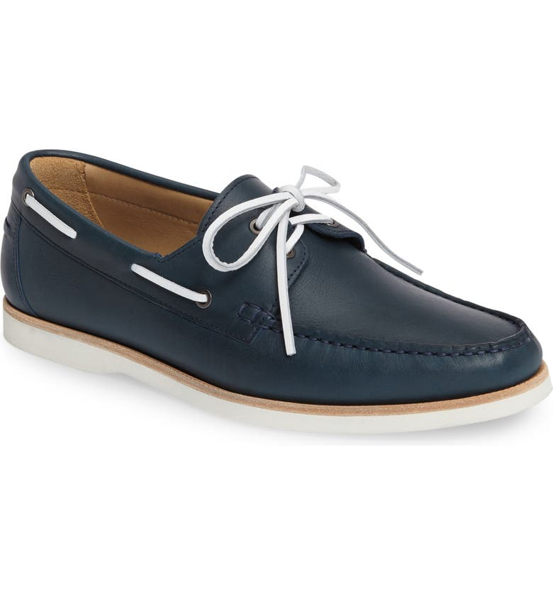 JACK ERWIN Cooper Boat Shoe, Main, color, NAVY LEATHER