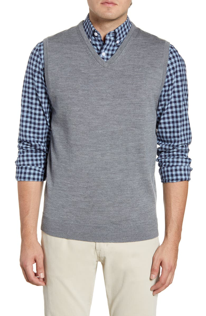 NORDSTROM MEN'S SHOP Merino Wool Sweater Vest, Main, color, GREY SHADE HEATHER