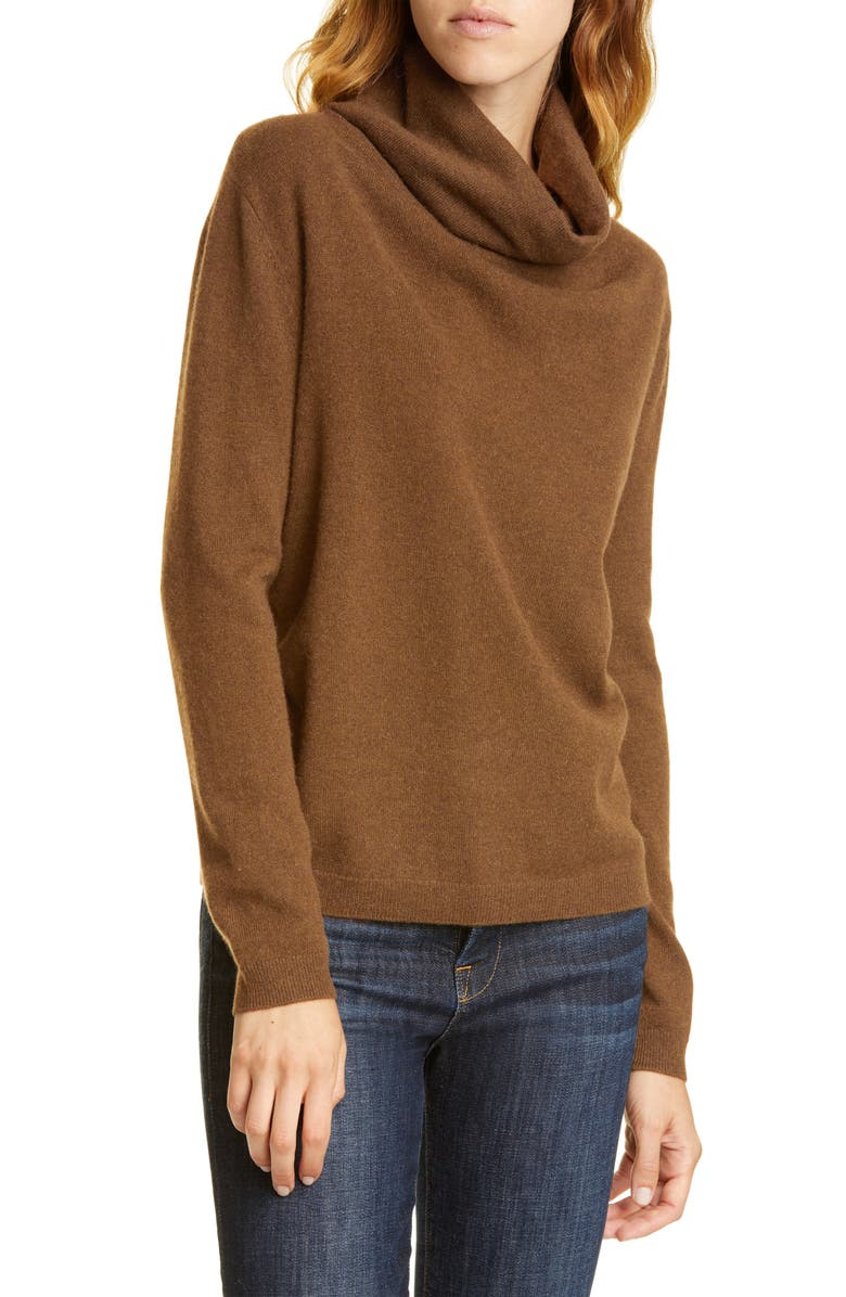 NORDSTROM SIGNATURE Cowl Neck Cashmere Sweater, Main, color, BROWN CLOVE