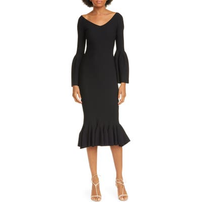 Stella Mccartney Long Sleeve Flare Hem Sweater Dress, US / 46 IT - Black