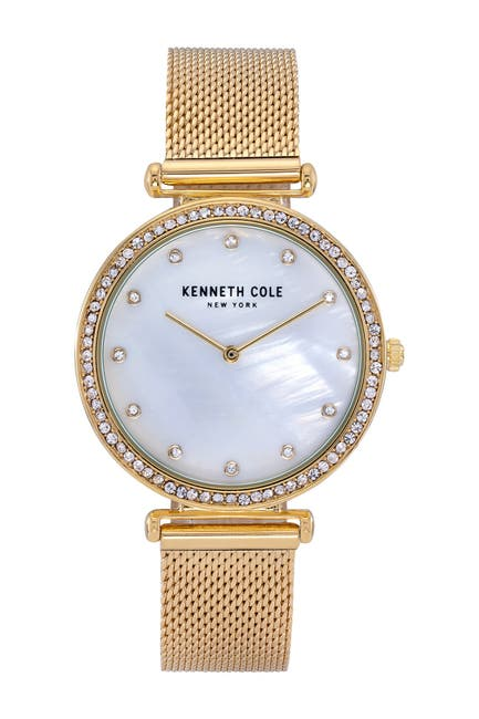 Image of Kenneth Cole New York Women's Embellished Mother of Pearl Bracelet Watch, 36mm