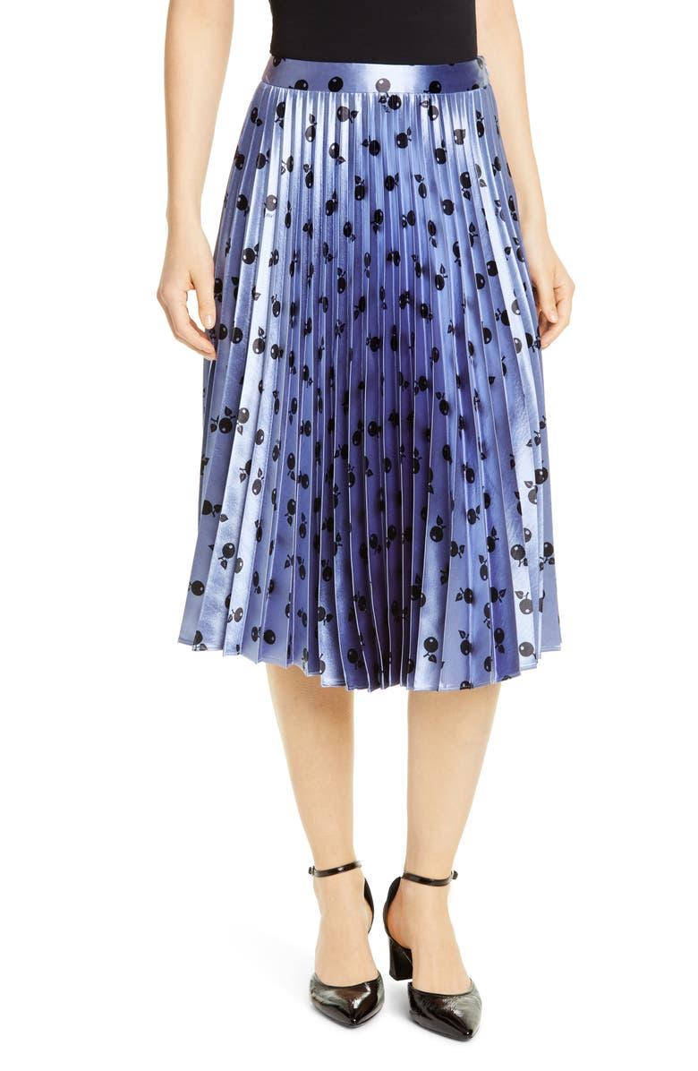HVN Tracy Fruit Print Pleated Skirt, Main, color, METALLIC BLUE CHERRY
