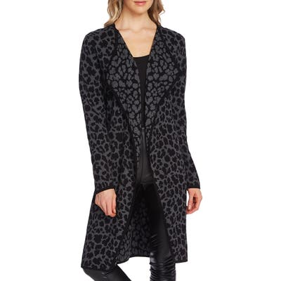 Vince Camuto Cheetah Open Front Maxi Cardigan, Grey