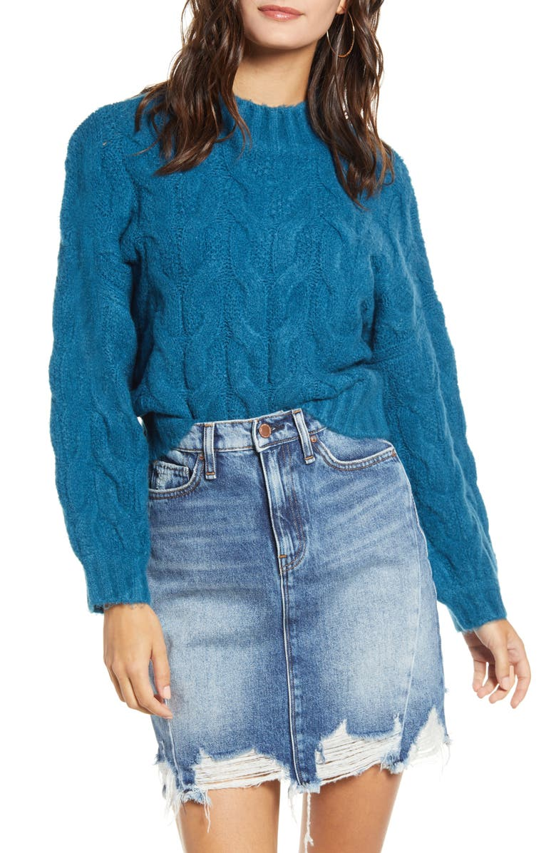 PRIMA Cable Knit Sweater, Main, color, TEAL MOROCCAN