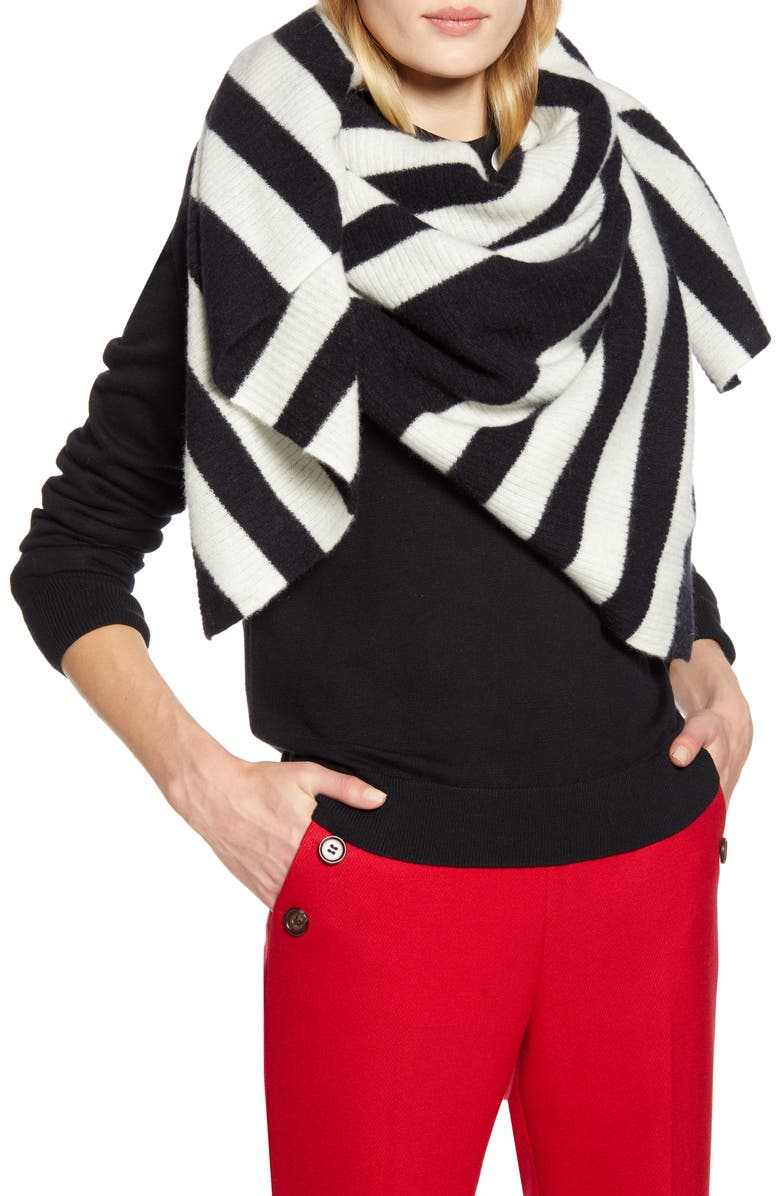 HALOGEN<SUP>®</SUP> x Atlantic-Pacific Stripe Cashmere Blanket Scarf, Main, color, BLACK COMBO