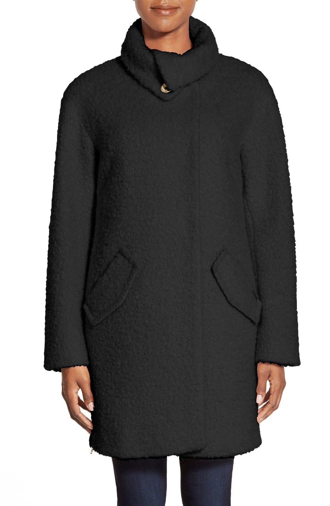 Zip Vent Funnel Collar Bouclé Coat, Main, color, 001