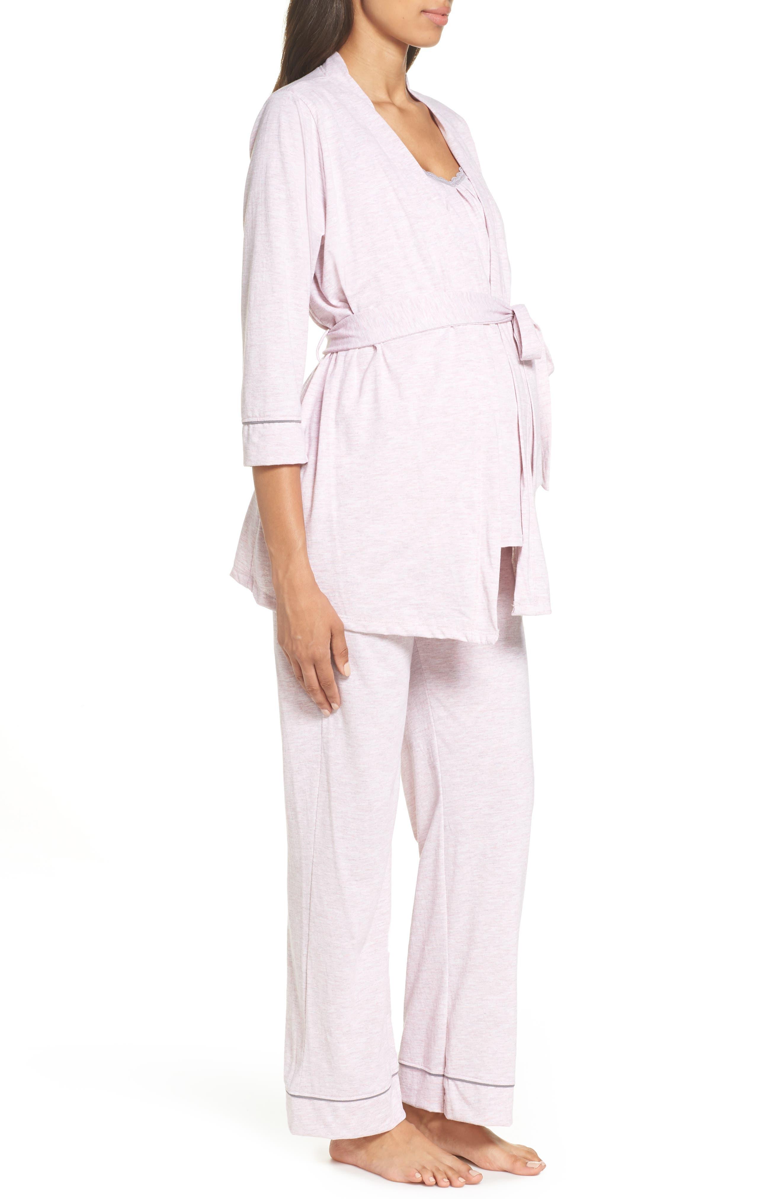 ,                             Maternity/Nursing Robe & Pajamas,                             Alternate thumbnail 4, color,                             PINK MARLE
