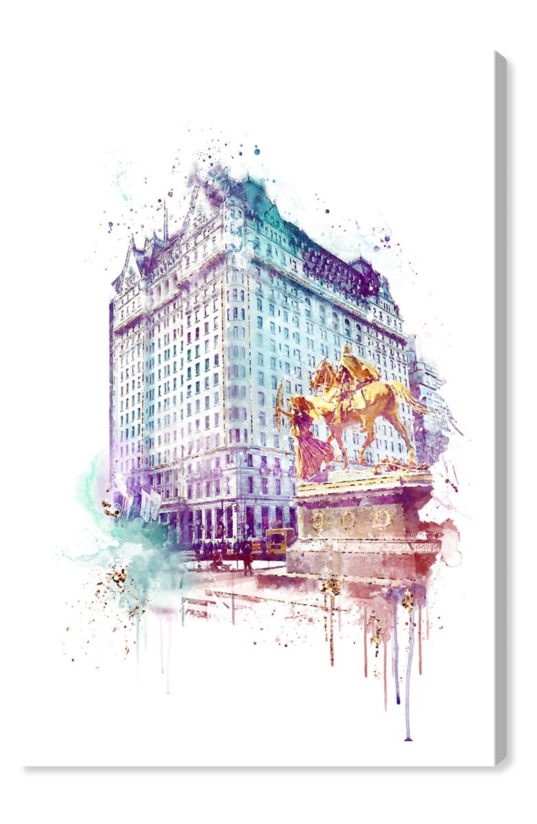 OLIVER GAL Plaza Night Canvas Wall Art, Main, color, WHITE