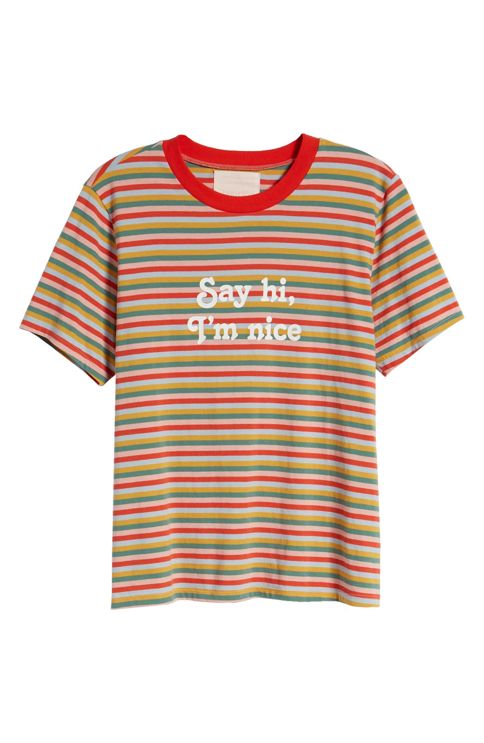 6e15268d77 ban.do Vintage Stripe Say Hi I'm Nice Cotton Ringer Tee | Nordstrom