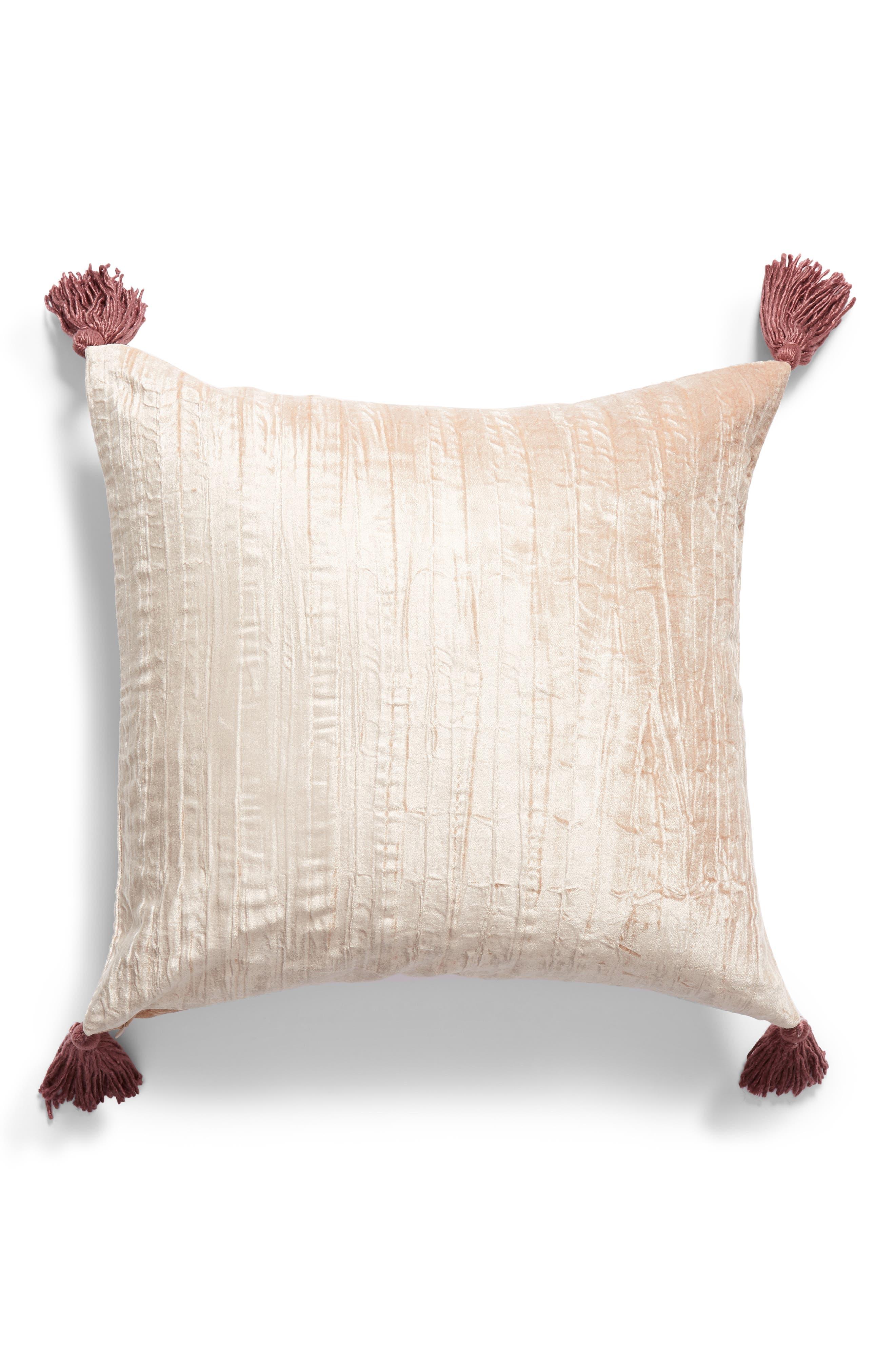 ,                             Tassel Crushed Velvet Accent Pillow,                             Alternate thumbnail 2, color,                             PINK HERO