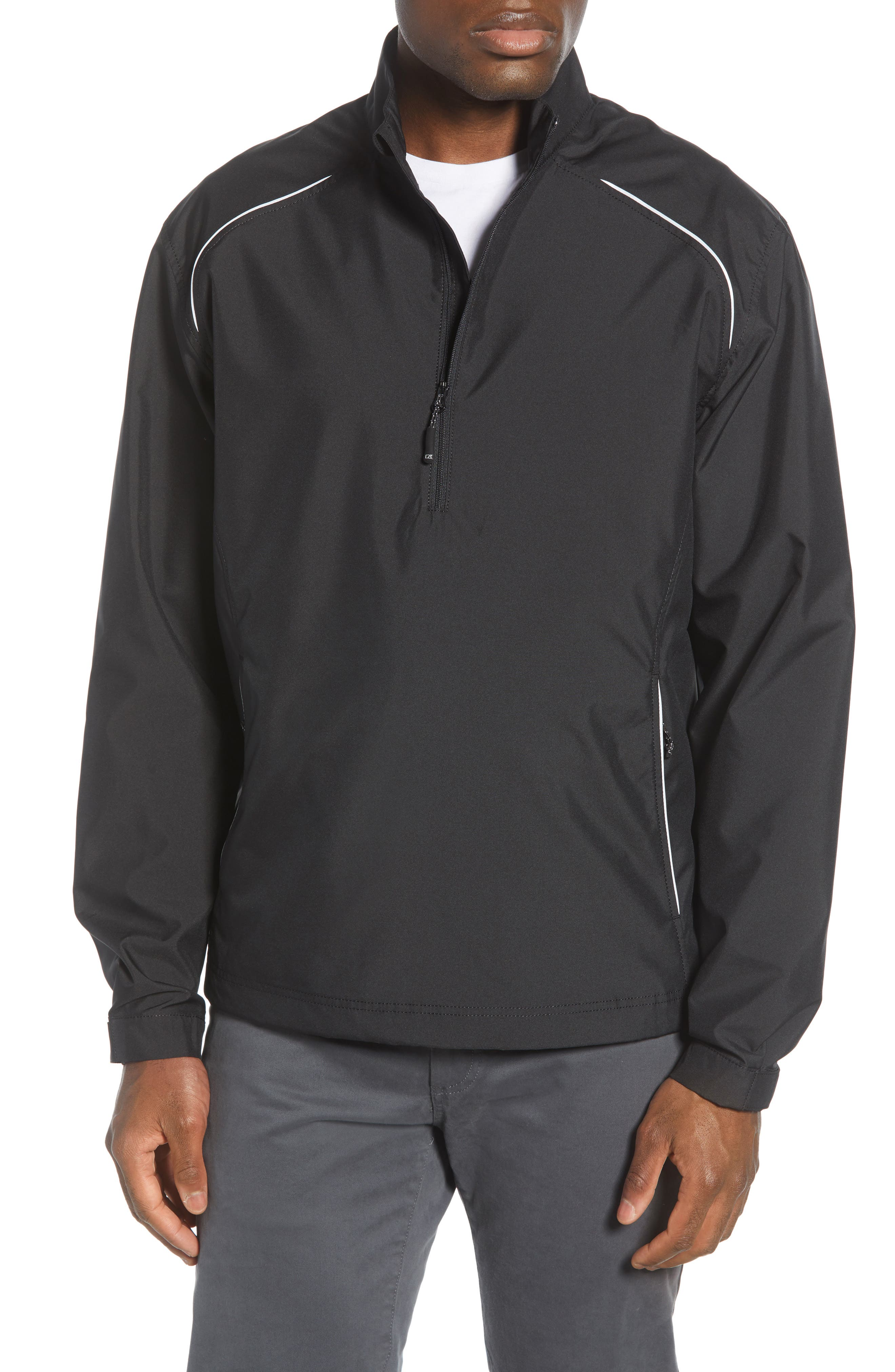 Smooth, lightweight, wind- and water-resistant fabric composes a breathable, high-performance jacket styled with a half-zip closure and a bold mock neck. Adjustable hook-and-loop cuffs and an adjustable drawcord hem ensure a custom fit, while reflective trim keeps you visible in low-light conditions. Style Name: Cutter & Buck \\\'Weathertec Beacon\\\' Water Resistant Half Zip Jacket (Big & Tall). Style Number: 877279. Available in stores.