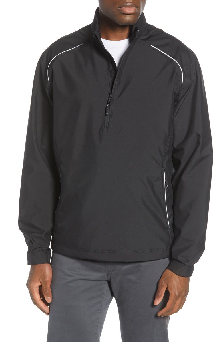 CUTTER & BUCK 'Weathertec Beacon' Water Resistant Half Zip Jacket, Main, color, BLACK