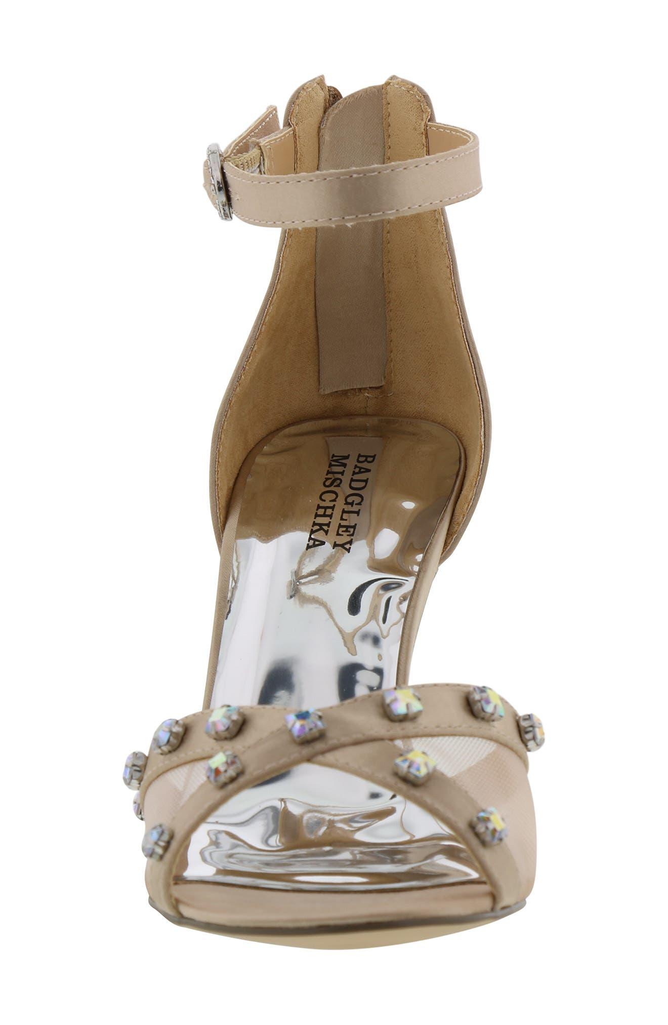 ,                             Badgley Mischka Kendall Glam Sparkle Sandal,                             Alternate thumbnail 4, color,                             CHAMPAGNE