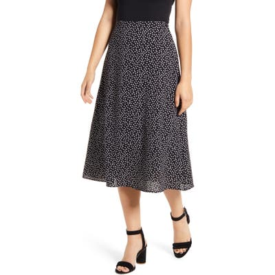 Loveappella Palm Print Midi Skirt, Black