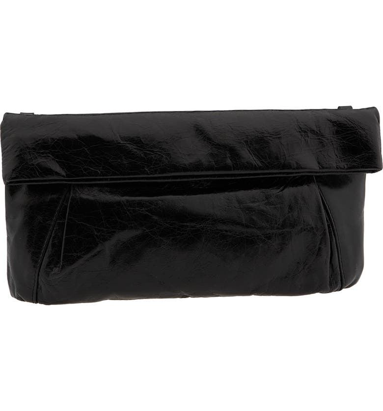 NORDSTROM Gianni Chiarini 'Medium' Pleated Leather Foldover Clutch, Main, color, 001