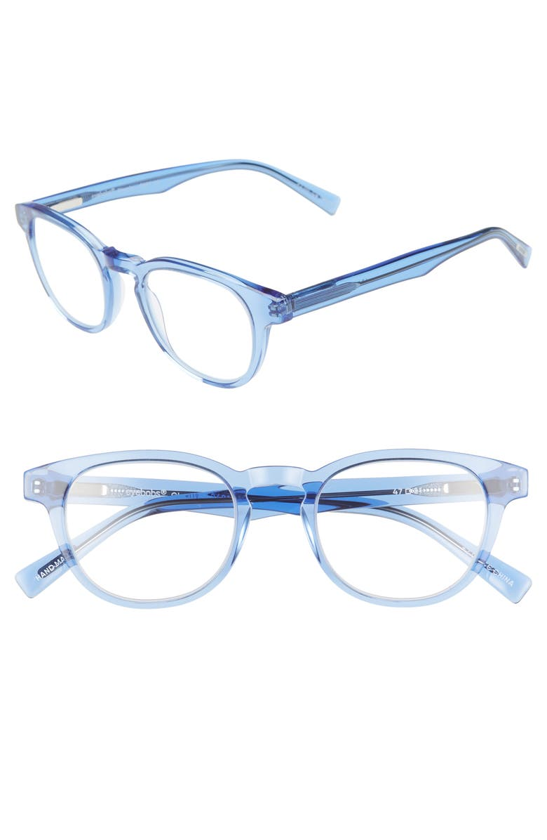 EYEBOBS Clearly 47mm Round Reading Glasses, Main, color, BLUE CRYSTAL