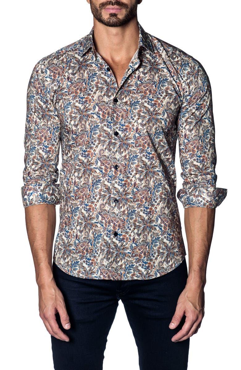 JARED LANG Slim Fit Paisley Print Sport Shirt, Main, color, 250