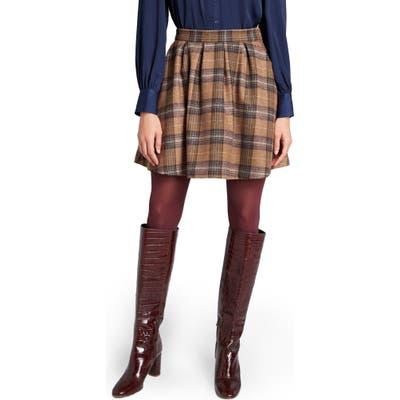 Modcloth Brisk Taker Short A-Line Plaid Skirt, (similar to 2-2) - Brown