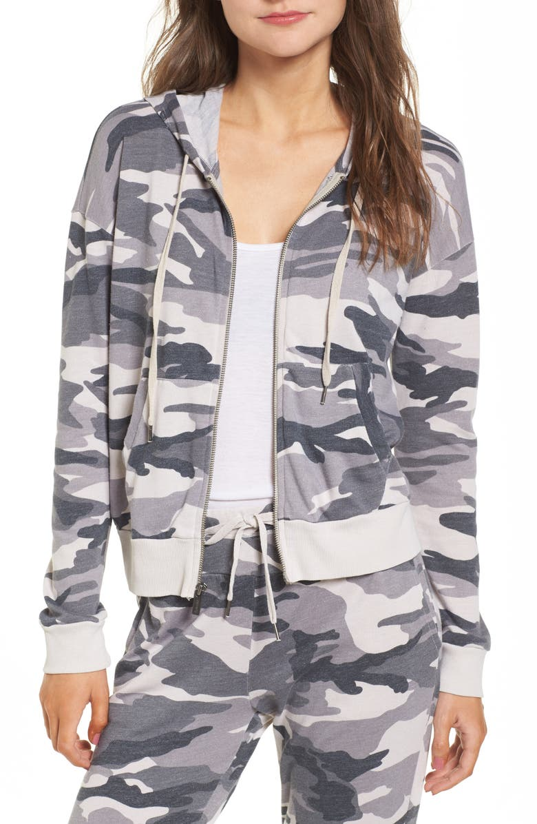 SPLENDID Active Camo Zip Hoodie, Main, color, 059