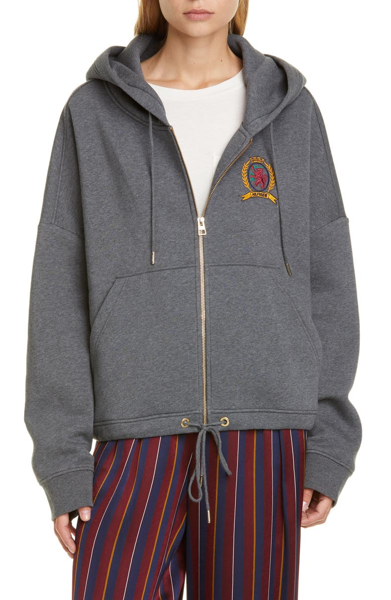 HILFIGER COLLECTION Crest Embroidered Hoodie, Main, color, GREY MARL