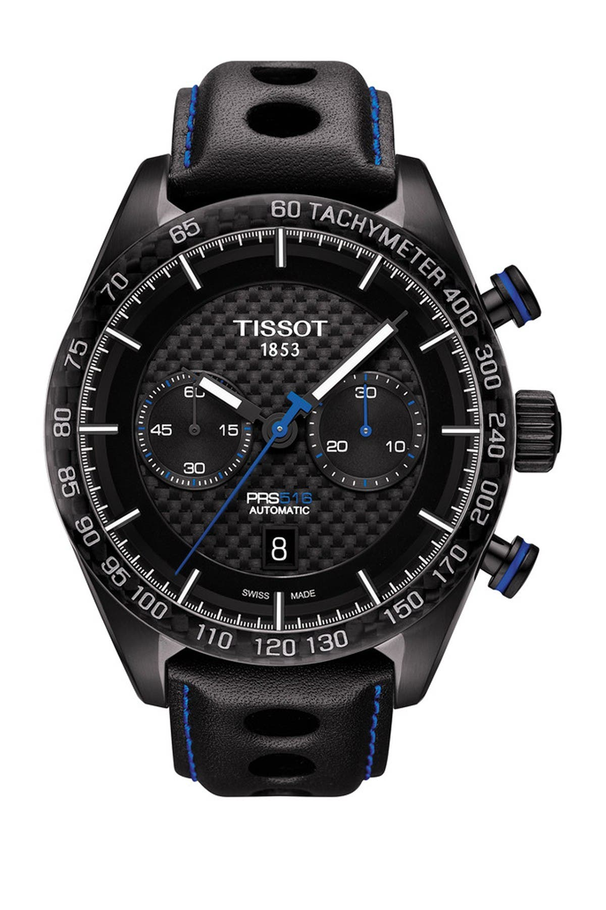 Image of Tissot Men's Prs 516 Automatic Chronograph Swiss Leather Strap Watch, 45mm