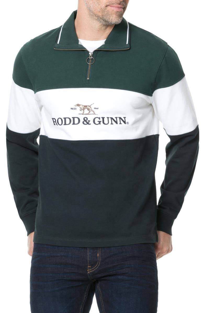 RODD & GUNN Foresters Peak Quarter Zip Pullover, Main, color, FOREST