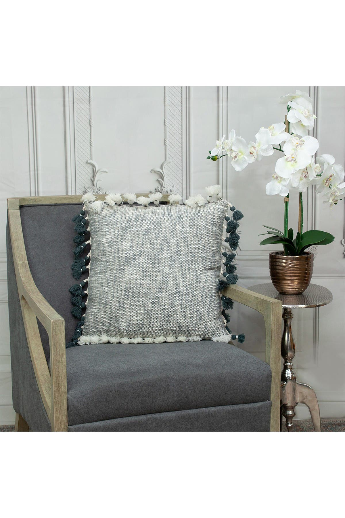 Image of Parkland Collection Arwen Transitional Grey & Slate Throw Pillow
