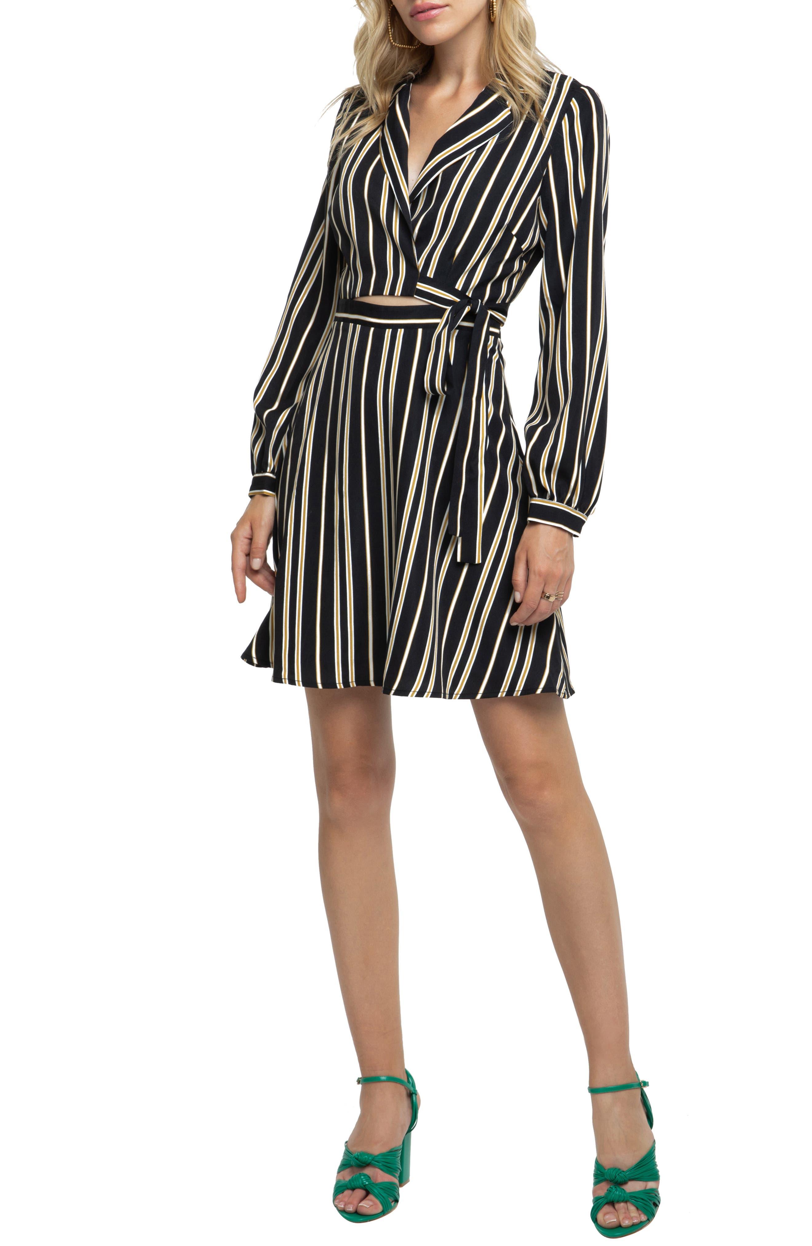 Astr The Label Cutout Wrap Dress, Black