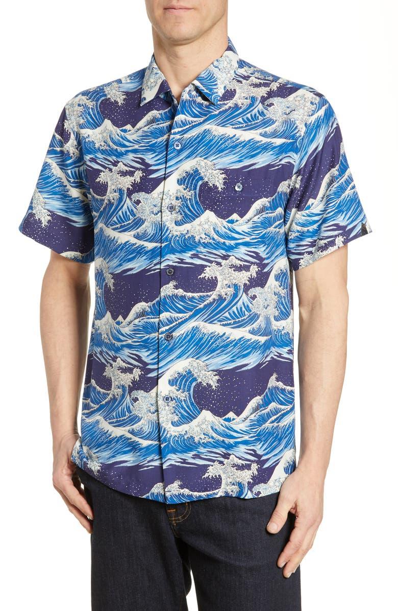 Tori Richard Hokusai Short Sleeve Silk Blend Button Up Shirt