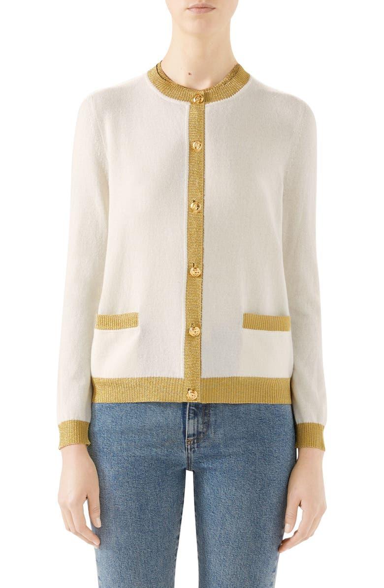 GUCCI Metallic Trim Cashmere & Silk Cardigan, Main, color, IVORY/ GOLD