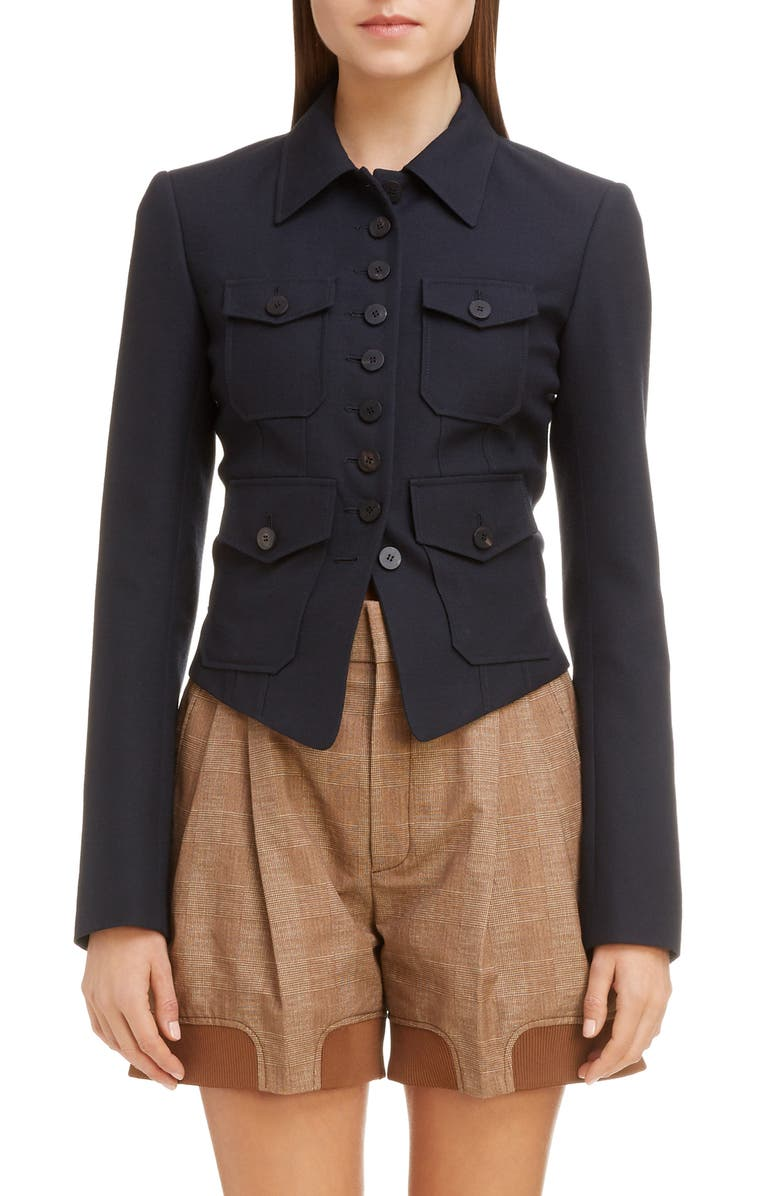 CHLOÉ Wool Cutaway Jacket, Main, color, ABYSS BLUE