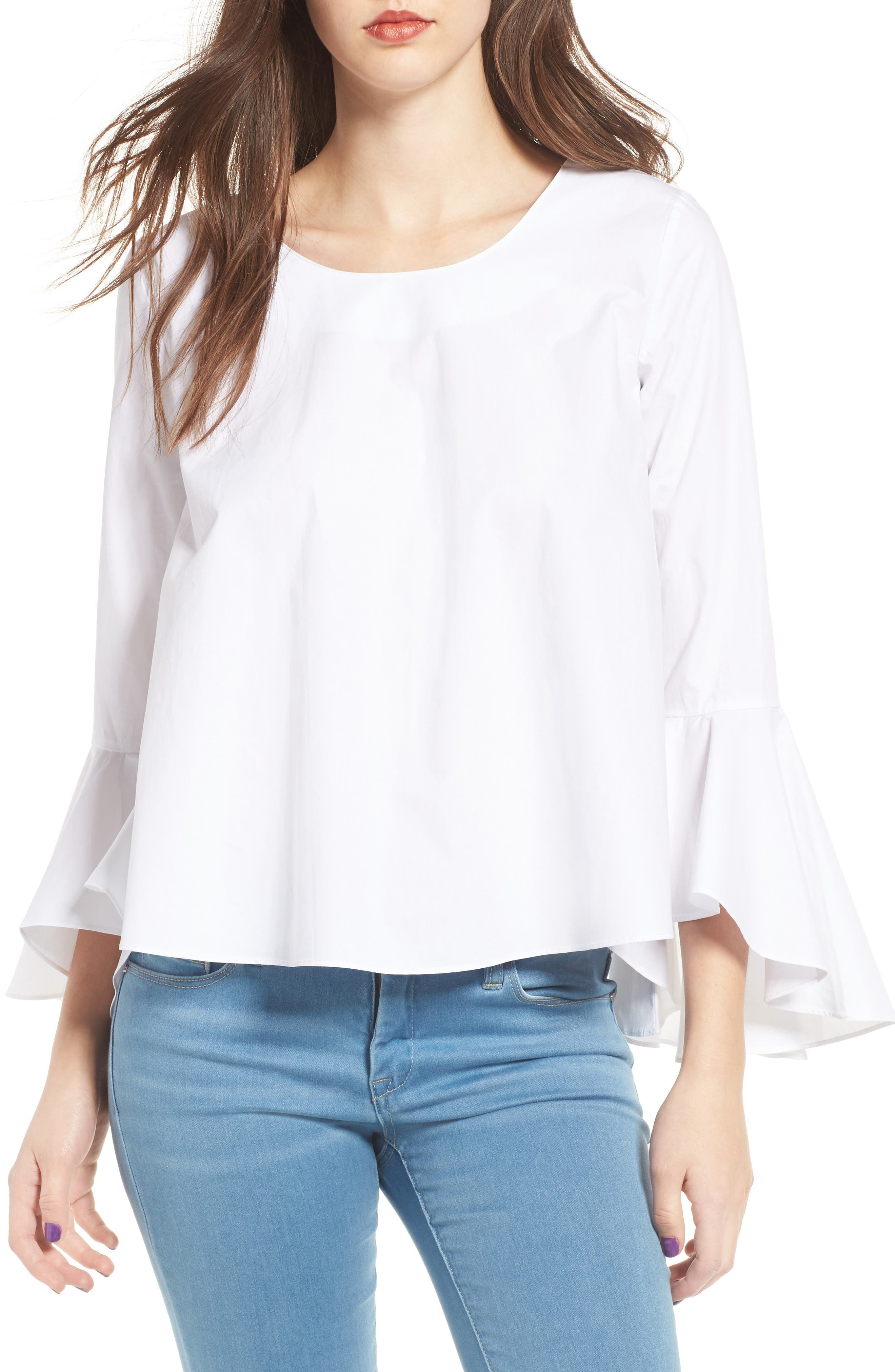 ,                             Bell Sleeve Top,                             Main thumbnail 1, color,                             100