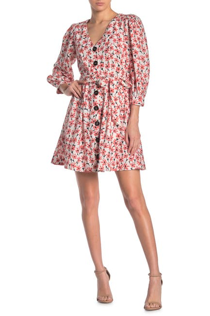 Image of Alexia Admor Printed Button Front Belted Mini Dress
