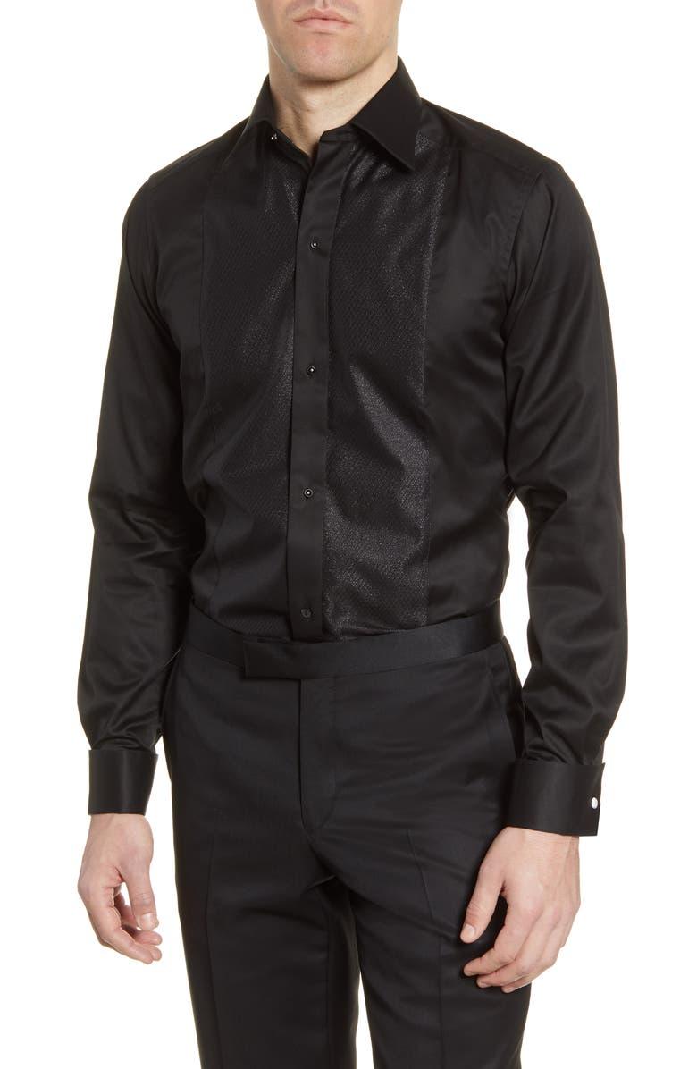 ETON Contemporary Fit Tuxedo Shirt, Main, color, BLACK