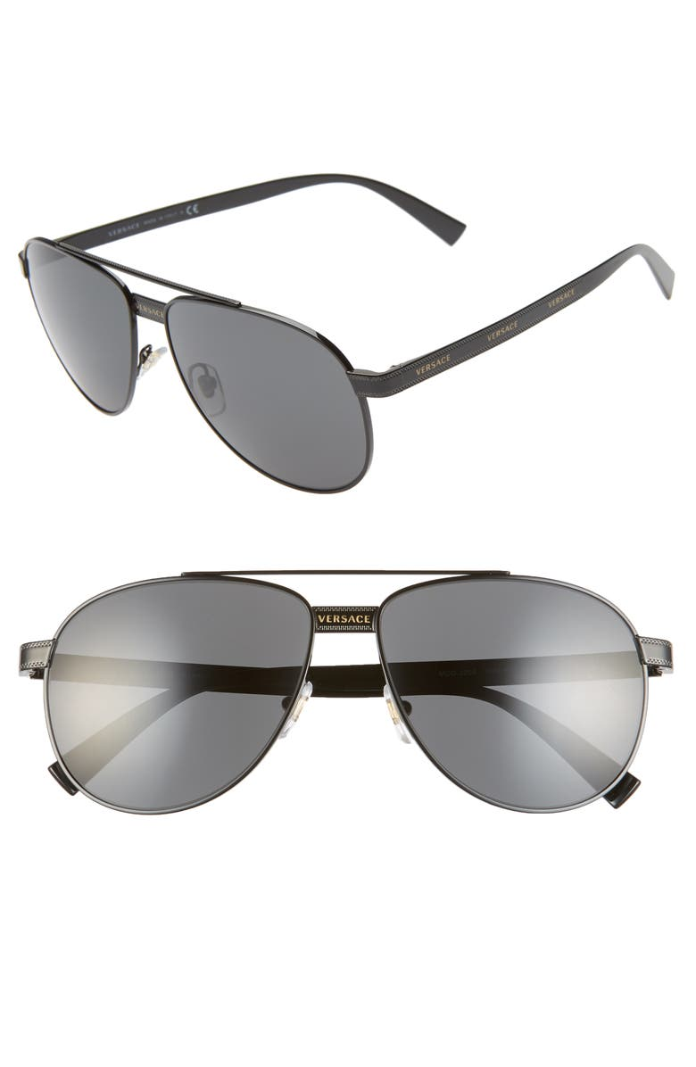 VERSACE Phantos 58mm Aviator Sunglasses, Main, color, BLACK/ GOLD/ BLACK SOLID