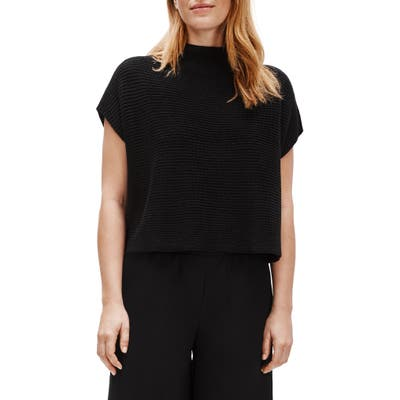 Eileen Fisher Funnel Neck Boxy Crop Sweater, /X-Small - Black