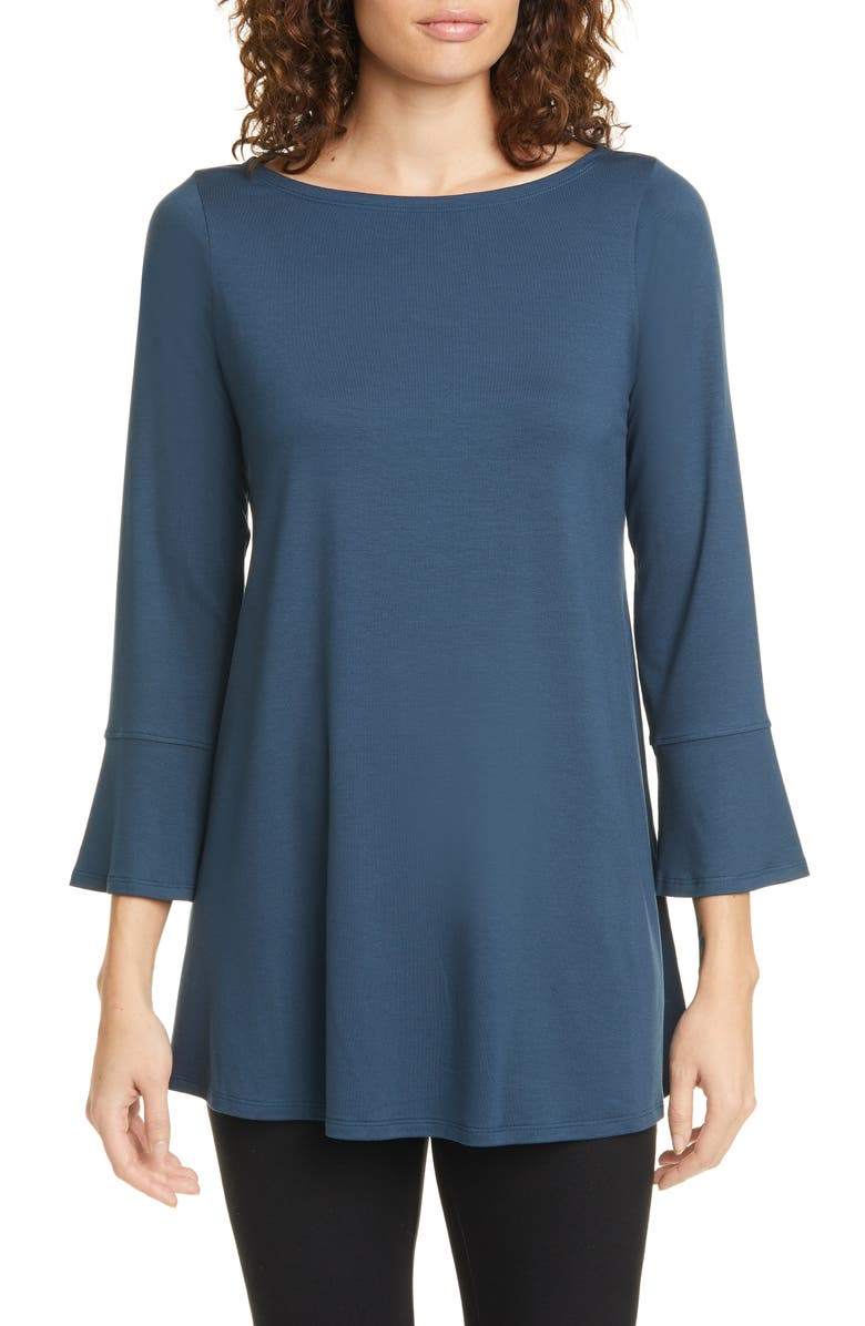 EILEEN FISHER Bell Cuff Tunic, Main, color, STORM