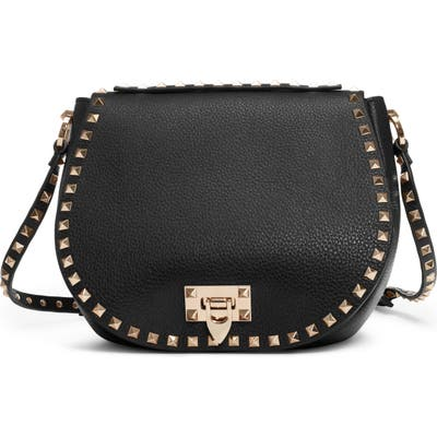 Valentino Garavani Small Rockstud Leather Saddle Bag - Black