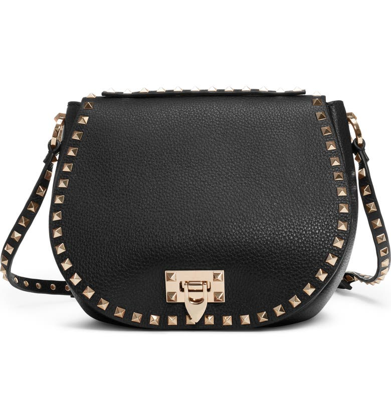 VALENTINO GARAVANI Small Rockstud Leather Saddle Bag, Main, color, NERO