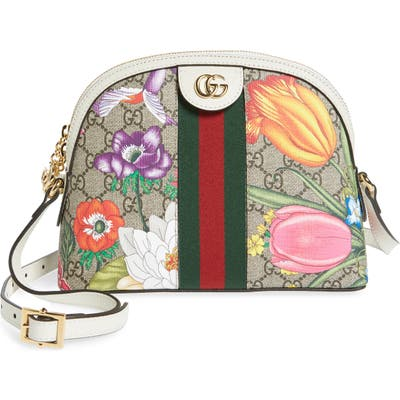 Gucci Small Ophidia Floral Gg Supreme Shoulder Bag - Beige
