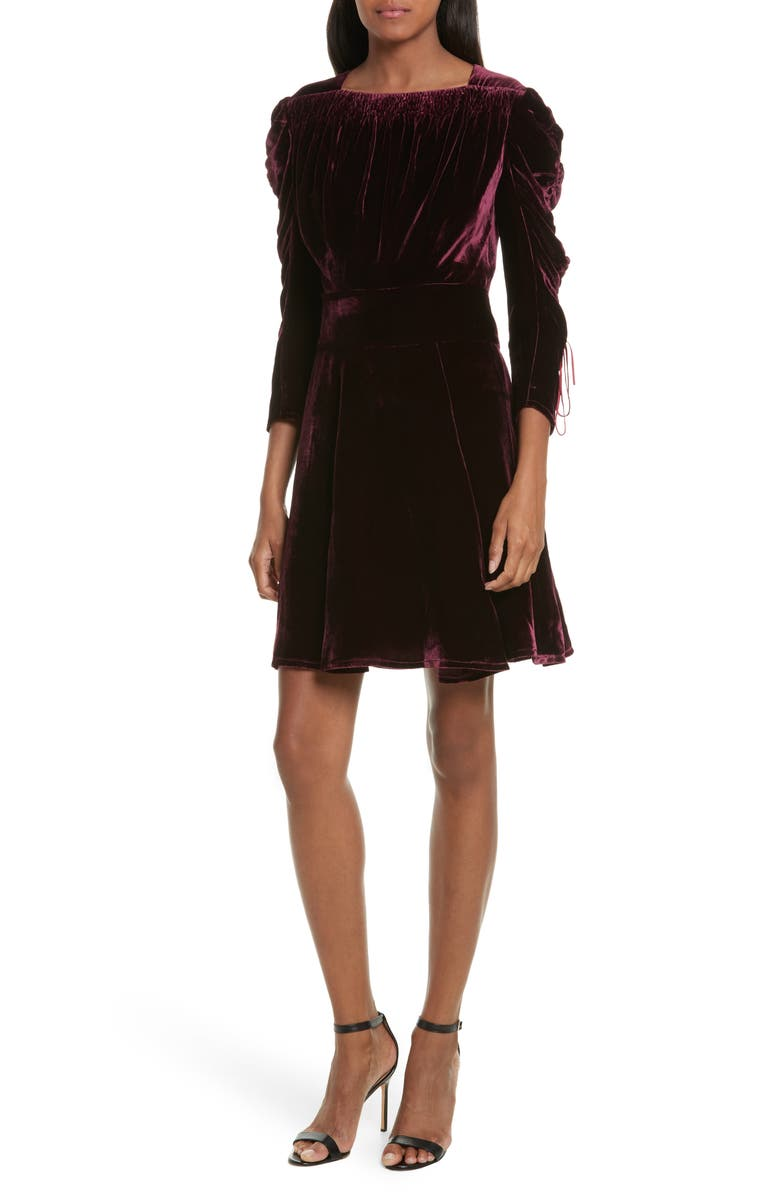 THE KOOPLES Pleated Sleeve Velvet Dress, Main, color, 600